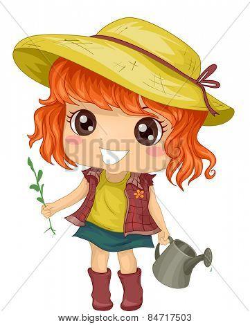 Illustration of a Little Girl Tending to Her Garden