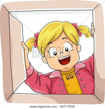 Illustration of a Little Girl Peeking Inside a Box