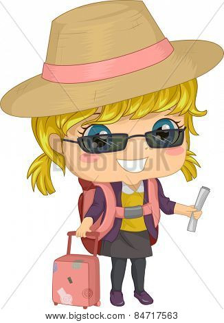 Illustration of a Little Girl All Dressed Up For a Trip