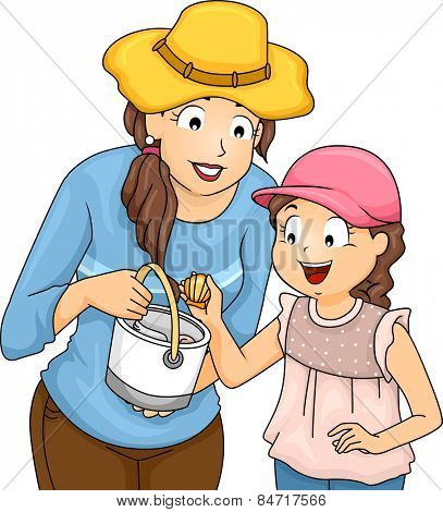 Illustration of a Mother and Daughter Picking Shells