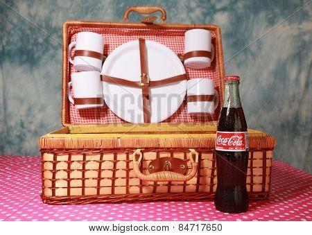 Lake Forest CA - February 24, 2015: Classic bottle Of Coca-Cola.  studio shot.  illustrative editorial