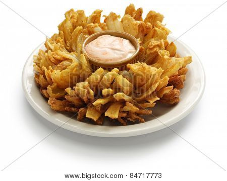 homemade blooming onion isolated on white background, american food