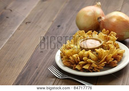 homemade blooming onion, american food