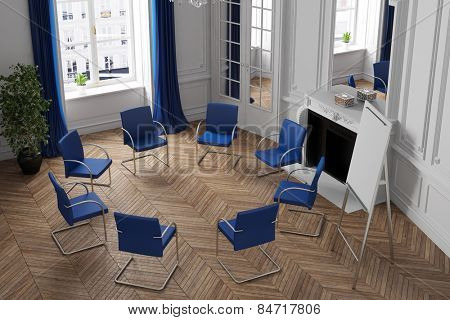 Circletime for self help group in a psychotherapy clinic (3D Rendering)