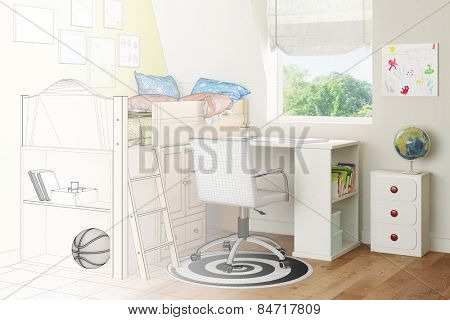 Nursery with bed and desk transforming from wireframe mesh to photorealistic render (3D Rendering)
