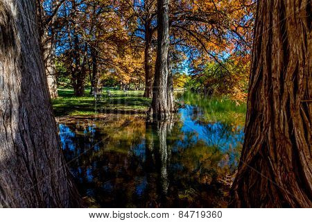 Fall Reflections On The Guadalupe River, Texas.