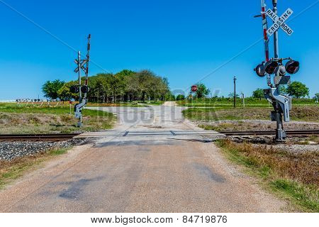 Railroad Crossing on Old Texas Country Road