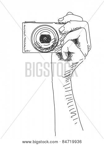 Sketch of hand holding compact photo camera, Hand drawn illustration Vector
