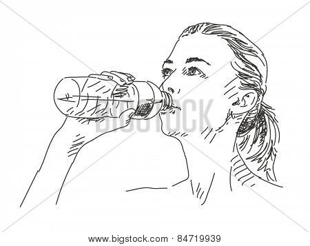 Sketch of woman drinking water Hand drawn vector illustration
