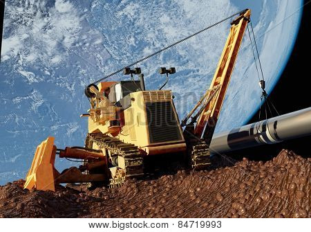 Construction machinery l on the backdrop of the planet..