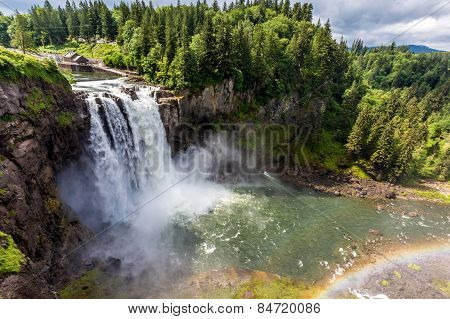 Rainbow at the Beautiful Snoqualmie Waterfall in the Great Pacific Northwest, USA