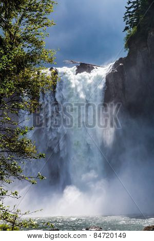 The Beautiful Snoqualmie Waterfall in the Great Pacific Northwest, USA