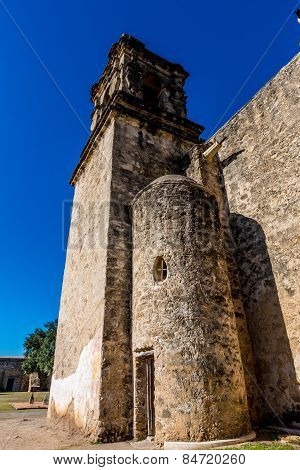 The Bell Tower of the Historic Old West Spanish Mission San Jose, 1720, San Antonio, Texas