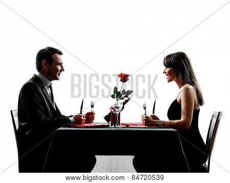 couples lovers dinning hungry in silhouettes on white background