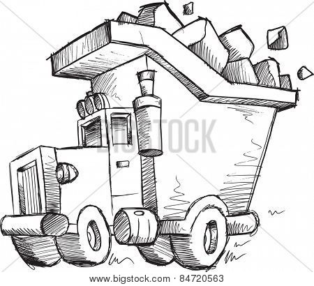 Doodle Sketch Dump Truck Vector Illustration Art
