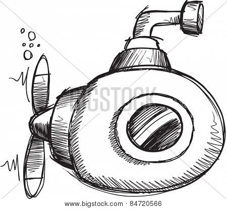Doodle Sketch Submarine Vector Illustration Art