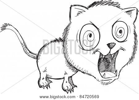 Doodle Wild Crazy Cat Vector Illustration Art