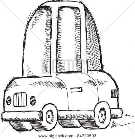Doodle Sketch Car Vector Illustration Art