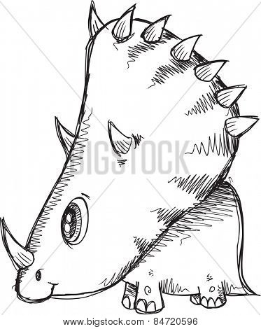 Doodle Sketch Triceratops  Dinosaur Vector Illustration