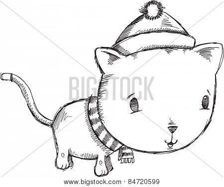 Doodle Sketch Winter Holiday Cat Vector Illustration Art