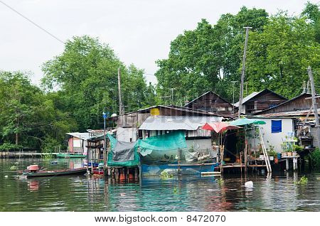 Traditional Thai Community Along A Canal In Bangkok