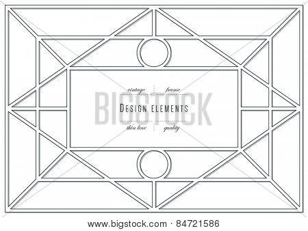 Vintage element - frame, thin line ( variable line width )