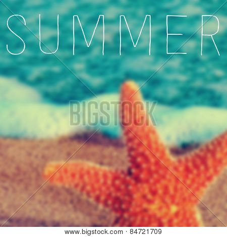 the word summer written on a blurred image of a starfish in the seashore
