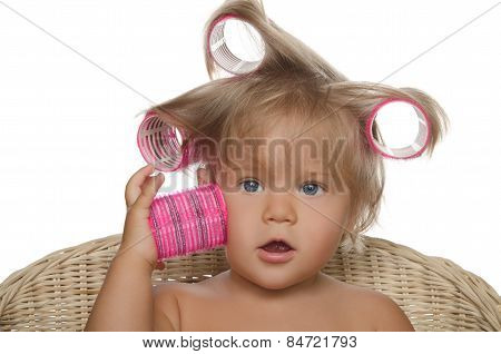 Little Beautiful Girl With Hair Curlers