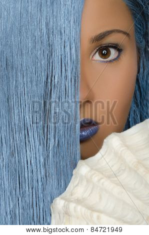 Woman With Long Blue Hair And Large Shells