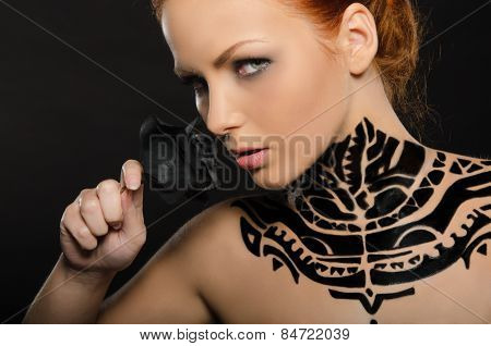 Attractive Woman With Flower, Black Body Art