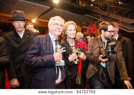 BERLIN, GERMANY - FEBRUARY 14: T. Courtenay, C. Rampling. Closing Ceremony. 65th Berlin Film Festival at Berlinale Palace on February 14, 2015 in Berlin, Germany