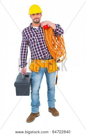 Handyman holding tool box and multimeter on white background