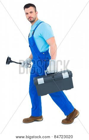 Plumber with plunger and toolbox on white background
