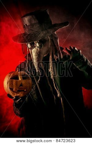 Terrible plague doctor. Medieval Europe. Halloween.