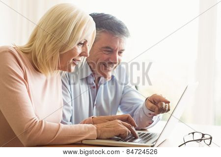 Happy mature couple using laptop at home in the kitchen