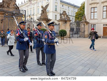 Prague. Soldiers Guard Of Honor Near The Presidental Palace.