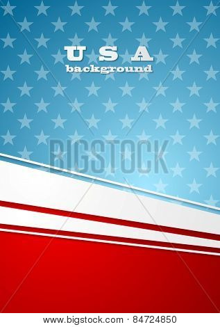 Corporate bright abstract background. USA colors vector design
