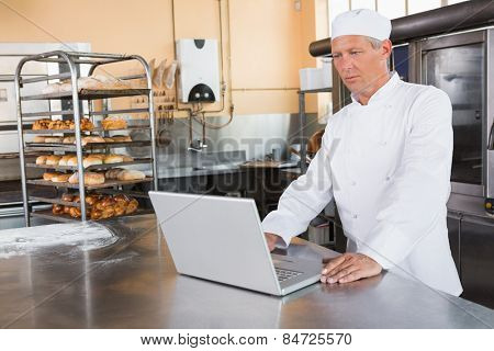 Focused baker using laptop on worktop in the kitchen of the bakery