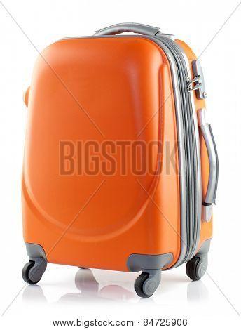 Orange suitcase on a white background.