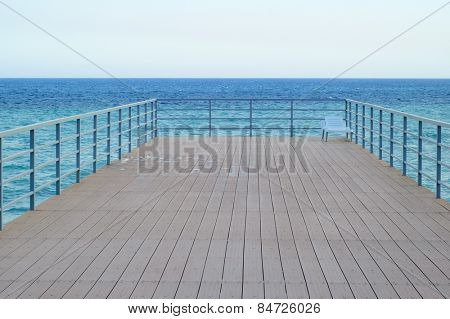 Empty Wooden Pier in the Sea. Tranquil Scene