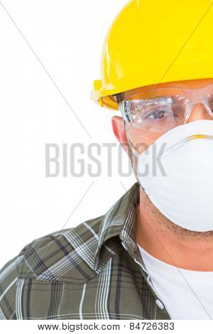 Handyman wearing protective work wear on white background