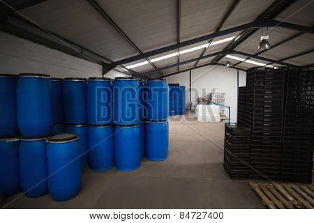 Close up of storage room for containers in a large warehouse