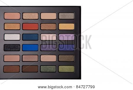 Eyeshadow palette with copy-space for your text, top view isolated on white background