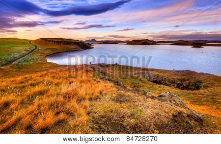 Scenic sunset at Lake Myvatn in Northern Iceland