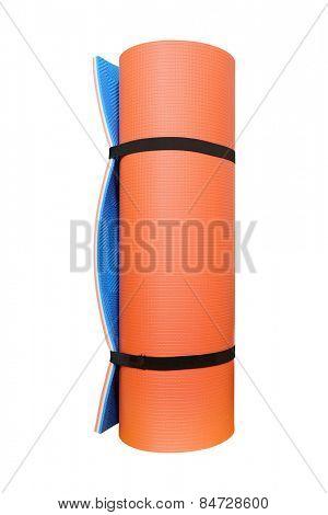 Orange camping mat  isolated on white background