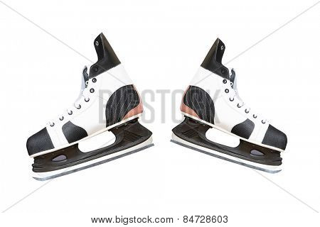 Man's hockey skate isolated on white background