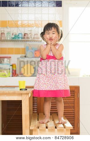 Lovely Acting Of Little Children Dinning Table In Home Kitchen Room Use For Happiness In People Fami