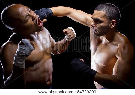 MMA Fighters of Boxers Sparring