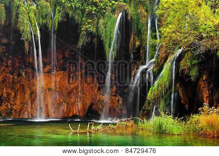 Waterfall in Plitvice National Park, Croatia, Europe