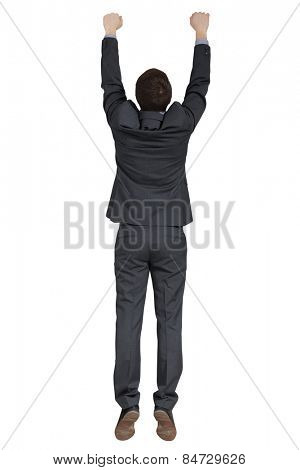 back view of hanging man in black suit. isolated on white background